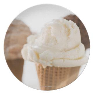 Close up of various ice cream cones plates