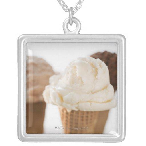Close up of various ice cream cones square pendant necklace