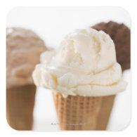 Close up of various ice cream cones square sticker