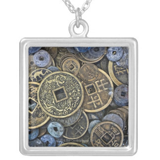 Close up of Vietnamese coins Silver Plated Necklace