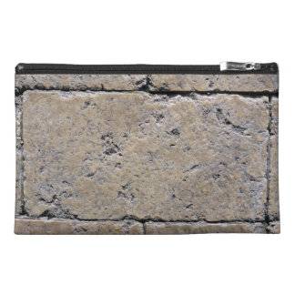Close-Up of Weathered Stone Brick Wall Travel Accessory Bag