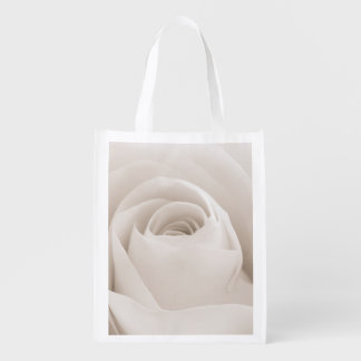 Close up of White Rose Petals Grocery Bags
