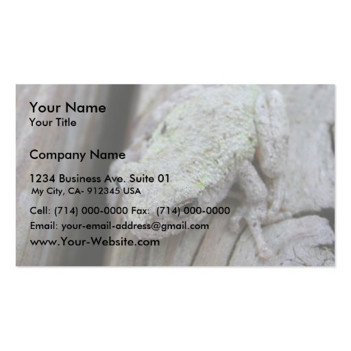 Close Up Of White Tree Frog Business Card Template