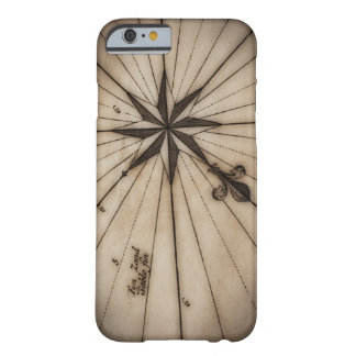 Close up of wind rose on antique map barely there iPhone 6 case