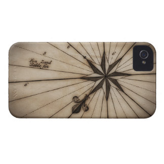 Close up of wind rose on antique map iPhone 4 cases