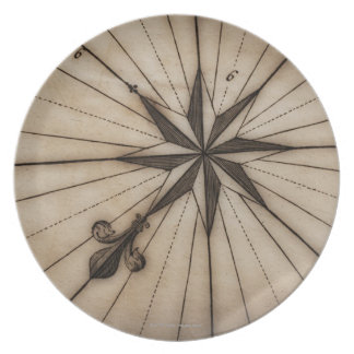 Close up of wind rose on antique map dinner plates