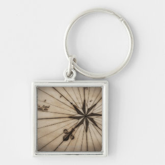 Close up of wind rose on antique map Silver-Colored square keychain