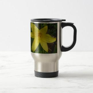 Close up of Yellow Mini Dayliliy - photograph Travel Mug