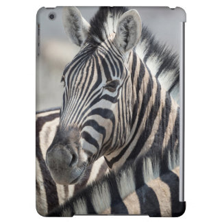 Close-up of zebra head between two other zebras iPad air cover