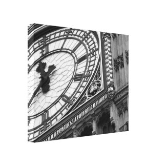 Close up on Big Ben in black and white Canvas Print