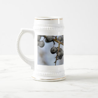 Close-up on black berries with a blured background beer stein