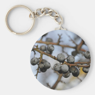 Close-up on black berries with a blured background keychain