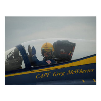 Close-up on the cockpit of Capt Greg McWherter. Poster