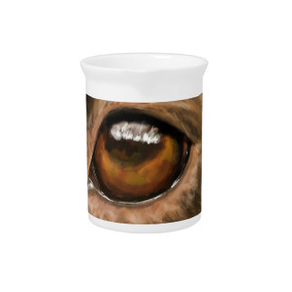Close-Up Painting of Pit Bull's Eye Drink Pitcher