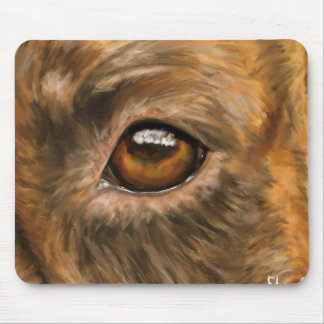 Close-Up Painting of Pit Bull's Eye Mouse Pad