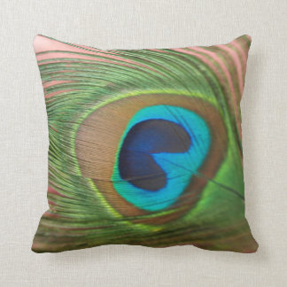 Close Up Peacock Feather with Pink Still Life Throw Pillow