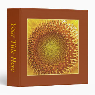 Close Up Peek into the Face of a Sunflower 3 Ring Binders