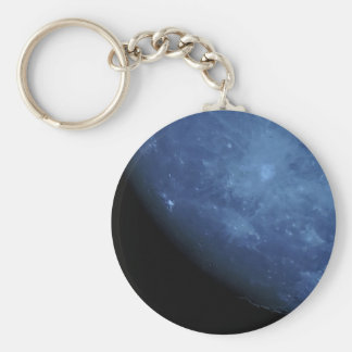 Close Up Photo Full Moon in Blue Basic Round Button Keychain