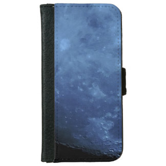 Close Up Photo Full Moon in Blue iPhone 6 Wallet Case