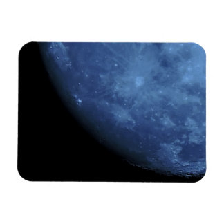 Close Up Photo Full Moon in Blue Rectangular Photo Magnet