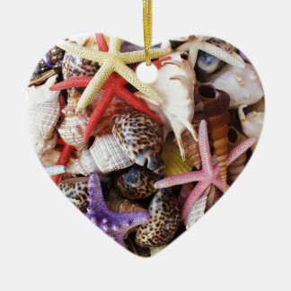 Close Up Picture of Sea Shell ans Starfish Photo Ornaments