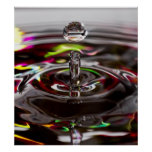 Close Up Rain Drop of Water in a Rainbow Pond Poster