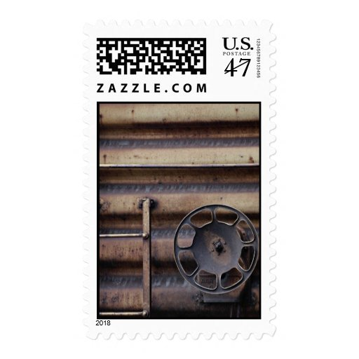 Close-up, rusted train car stamp