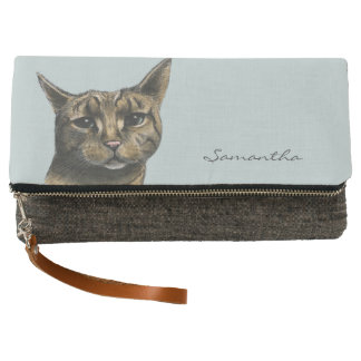 Close Up Tabby Cat Realistic Drawing Clutch