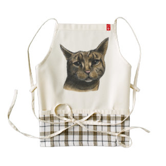 Close Up Tabby Cat Realistic Drawing Zazzle HEART Apron