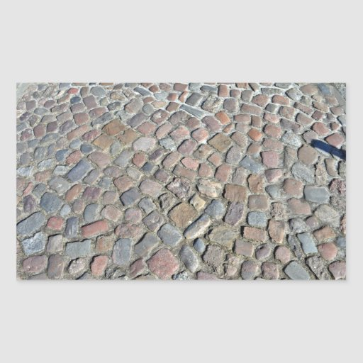 Close-Up Texture Of Old Stone Pavement Rectangle Sticker