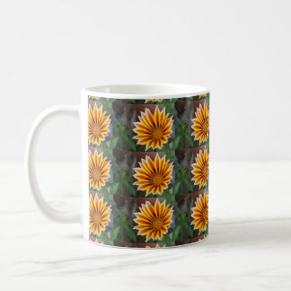 Close Up Tiger Gazania in Red Gold and Green Mugs