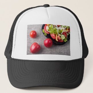 Close-Up top view fresh tomatoes and salad Trucker Hat