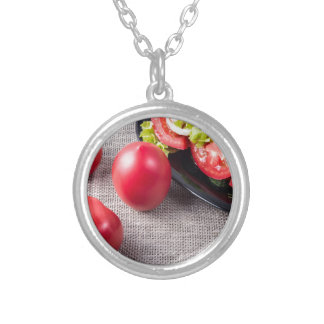 Close-Up top view on fresh tomatoes and a bowl Silver Plated Necklace