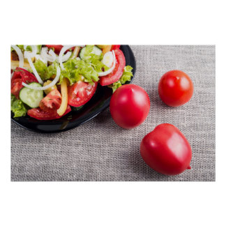 Close-Up top view on fresh tomatoes and salad Poster