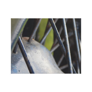 Close up tyre frame stretched canvas print