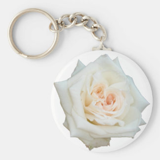 Close Up View Of A Beautiful White Rose Isolated Basic Round Button Keychain