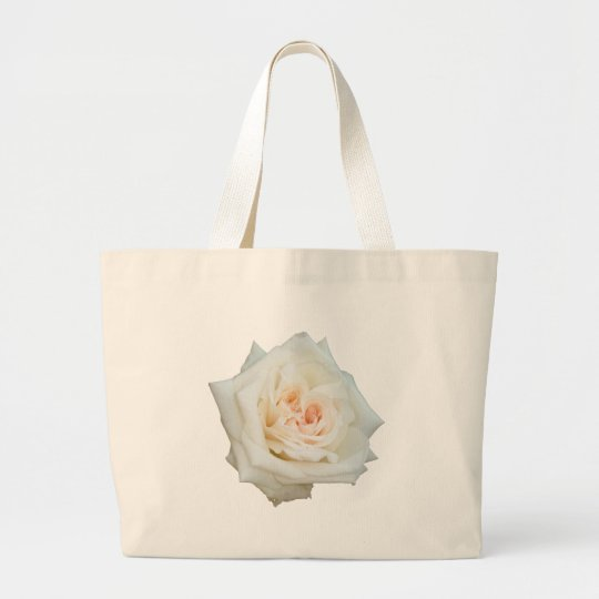 Close Up View Of A Beautiful White Rose Isolated Large Tote Bag
