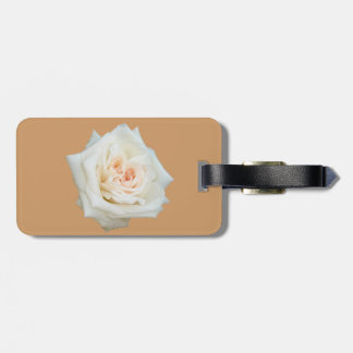 Close Up View Of A Beautiful White Rose Isolated Bag Tag