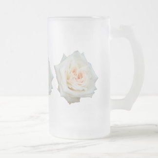 Close Up View Of A Beautiful White Rose Isolated Glass Beer Mugs