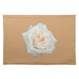 Close Up View Of A Beautiful White Rose Isolated Place Mats