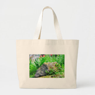 Close-up view of a decorative lawn in a park large tote bag