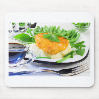 Close-up view of fried chicken mouse pad