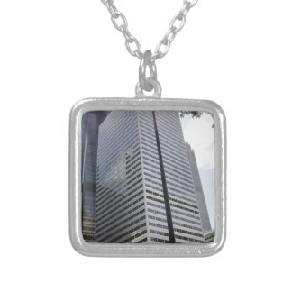 Close Up View of Huge Tower Silver Plated Necklace