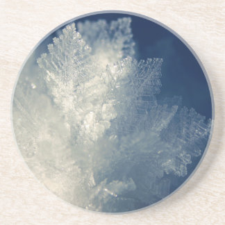 Close Up View of Ice Cold Morning Frost Drink Coaster