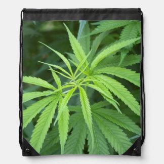 Close-Up View Of Marijuana Plant, Malkerns Drawstring Bag