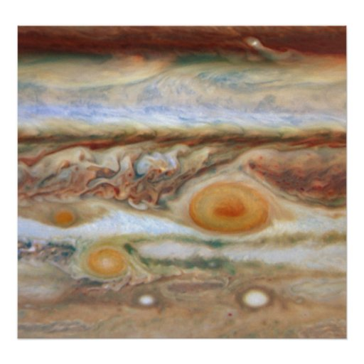 Close Up View of Planet Jupiter's Big Red Spot Posters