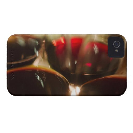 Close-up view of red wine glasses iPhone 4 Case-Mate case