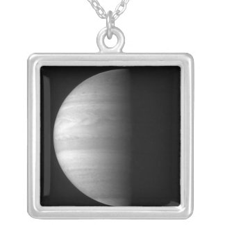 Close-up view of the planet Jupiter Silver Plated Necklace