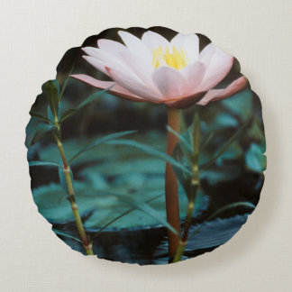 Close-Up view of Water Lily at Inle Lake Round Pillow