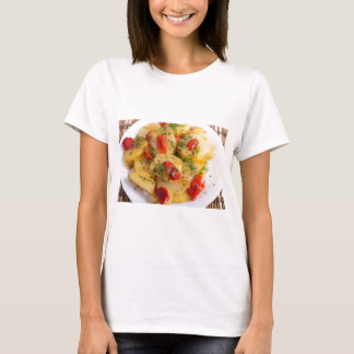 Close up view on a vegetarian dish of potatoes T-Shirt